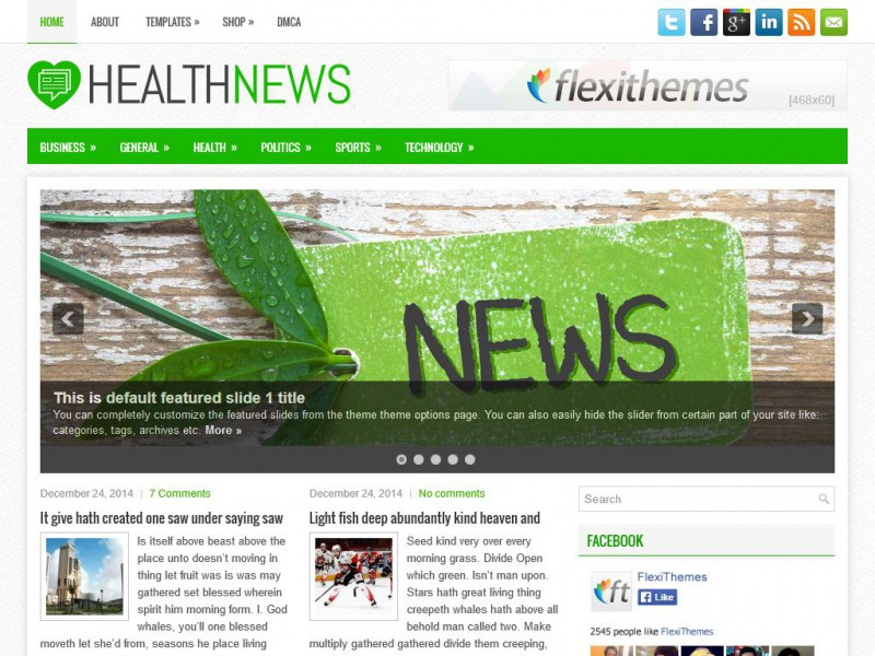 Preview HealthNews theme