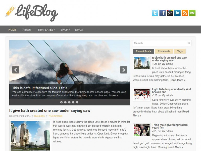 Preview LifeBlog theme